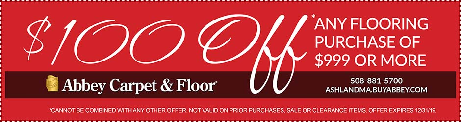 Take $100 OFF ANY Flooring Purchase of  $999 or more this month at Abbey Carpet & Floor in Ashland!
