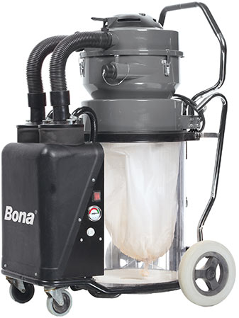 Our Bona Atomic dust containment system eliminates nearly all dust from the sanding process.